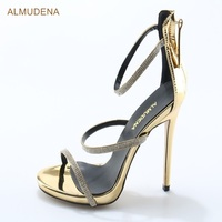 ALMUDENA Women Bling Bling Crystal Sandals Chic Triple Thin Straps Dress Shoes Stiletto Heels Gold Patent