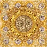 Golden Luxury European Pattern 3D Floor Tiles Custom Photo Floor Wallpaper Bathroom Mural PVC Wall Paper