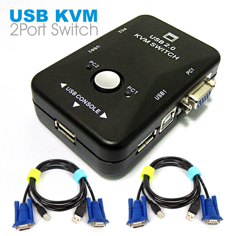 2 Ports USB 2.0 VGA SVGA KVM Switch Box Adapter 2 Computer Sharing Monitor Keyboard Mouse With Two Cable KVM-21UA