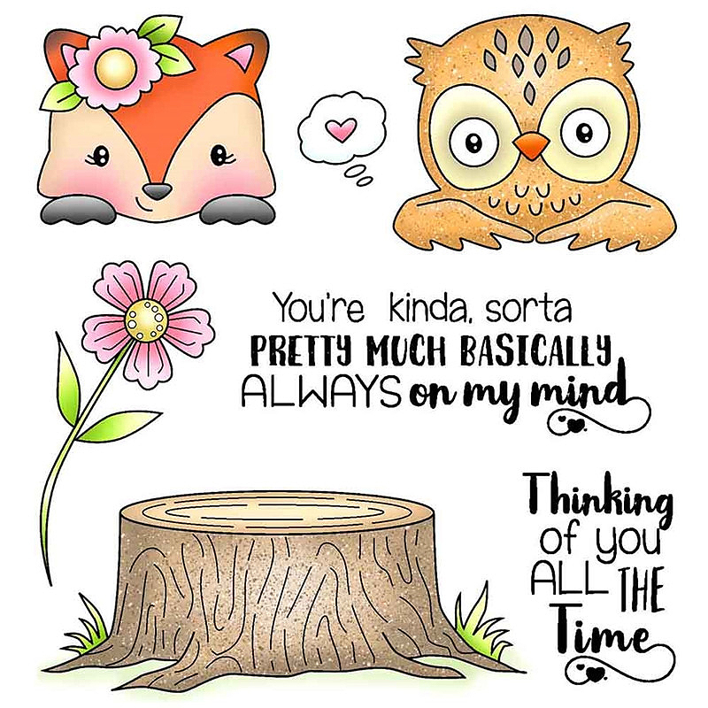 CARTOON ANIMALS CLEAR SILICONE STAMPS-CUTE TRANSPARENT STAMP-OWL//FOX//BUNNY//TREE