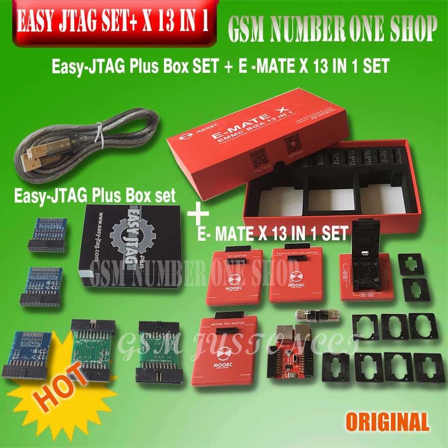New Version Full Set Easy Jtag Plus Box + MOORC E-MATE X E MATE PRO BOX EMMC BGA 13 IN 1 For HTC/ Huawei/LG/Motorola /Samsung..