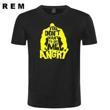 New Hulk T Shirts Men You don't want to see me angry T-shirt O-neck Short Sleeve Cotton Hulk Shirt Tops Free Ship
