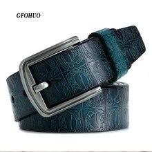 Cinturón de piel de vaca para hombre, nuevo producto, diseño lujoso, hebilla de pin, gran oferta