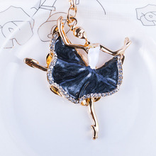 12pcs/lot ballerina crystal keychain trinket rhinestone car key chain bag charm womens ring girls keys accessories SS15