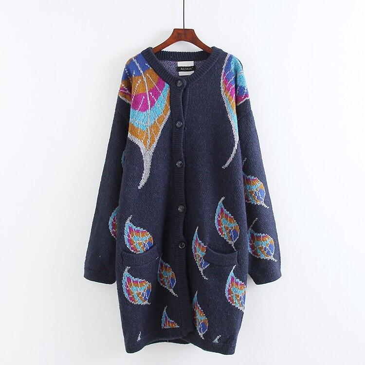 Nouveau femmes automne Lanter manches simple boutonnage tricoté Cardigan feuille motif lâche chandail décontracté veste pull Jacquard vêtement d'extérieur