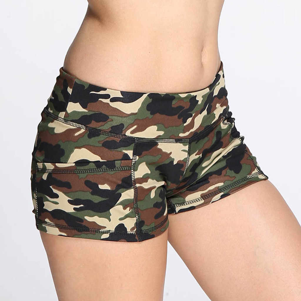 Gorące damskie krótkie spodnie kamuflaż druku sportowe lato sportowe spodnie wysokiej talii krótkie dżinsy krótkie dżinsy pantaloncini donna