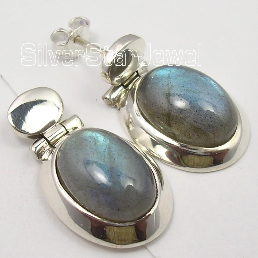 Silver LABRADORITE BIG CHUNKY s Earrings 2.6CM1 Pair of Earring pair of multi colored rhinestoned waterdrop crown women s earrings