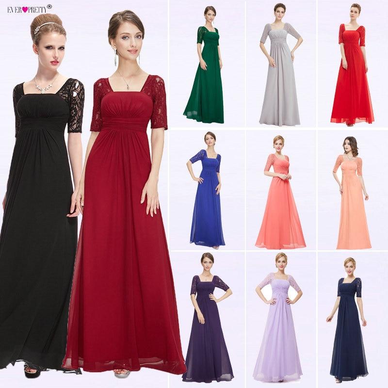Avondjurken Ever Pretty EP08038 2018 Nieuwe collectie Sexy Fashion Blue Lace lange elegante bruiloft evenementen speciale gelegenheid jurken