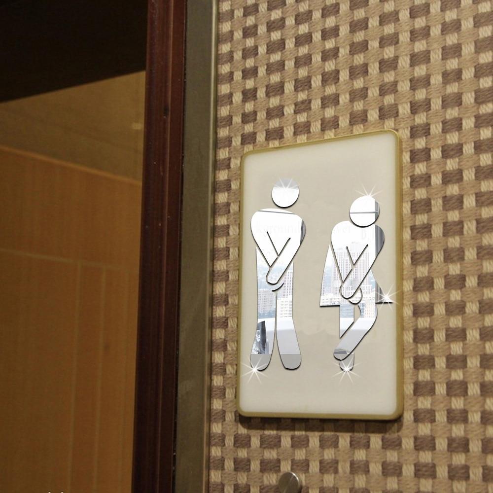 Online Mirror Sticker Name Funny Wc Toilet Door Entrance Sign Men Women Bathroom Diy Wall Home Decor Decals Stickers Aliexpress