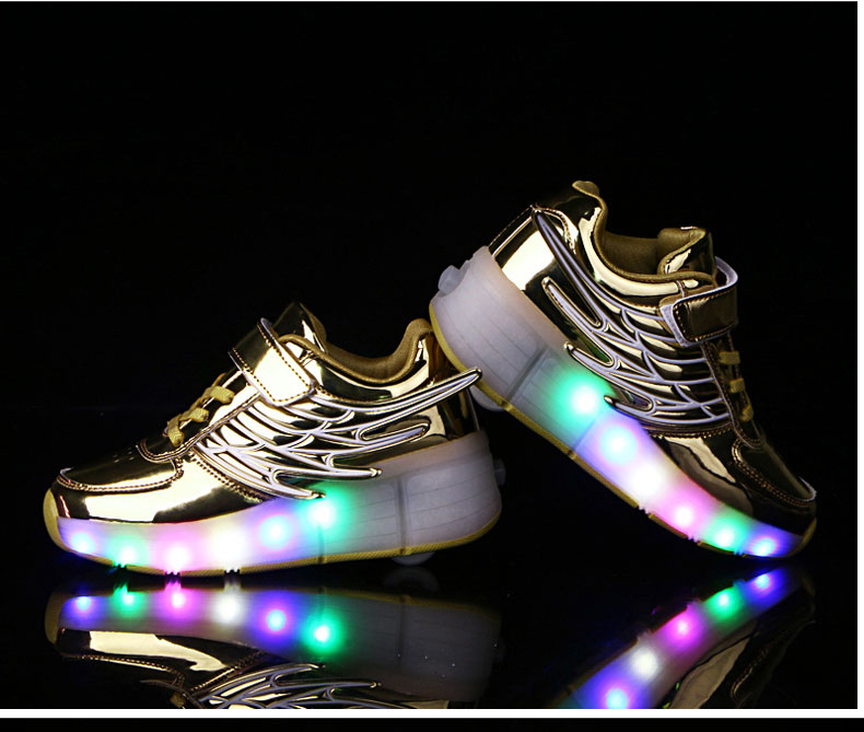 New Kids Black Glowing Sneakers With Wheels Boys Girls Automatic LED Light Roller Skates Shoes Child  tenis de rodinha6