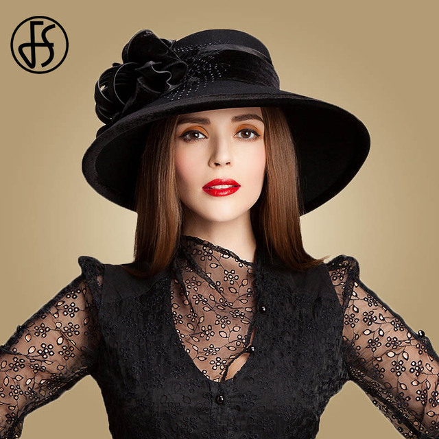 923fe12214a21 FS 100% Wool Church Hats For Black Women Elegant Autumn Winter Large Wide  Brim Fedora Ladies Felt Bowler With Flower Cloche Hat
