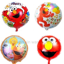 (10pcs/lot) cartoon Sesame Street party balloons classic toys 18inch elmo foil round style ball for birthday