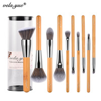 Vela Yue Makeup Brushes Set 10 Pieces Vegan Face Cheek Eyes Lips Beauty Tools Kit With