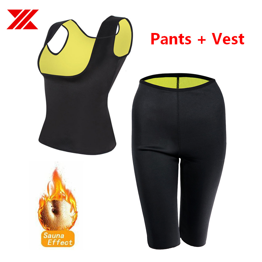 HEXIN Women Sauna Vest With Short Pants Neoprene Fat Burn Body Shaper Slimming Workout Tummy Control (Vest+Pants 2 Pcs One Set)