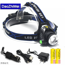 Hot Rechargeable CREE XML T6 2000Lumens Zoom Head Lamp LED Headlamp + 18650 Battery 5000mAh LED Headlight Flashlight Lantern