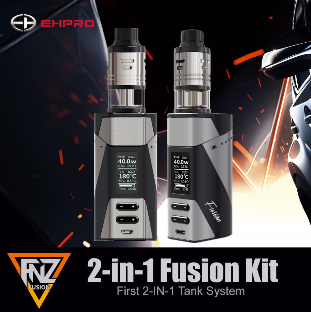 Original ehpro Fusion 150W kit electronic cigarette kits fit 510 thread atomizer 18650 battery 2 in 1 mechanical kit vaprizer original ijoy captain pd1865 tc 225w kit captain tank 4ml atomizer no 18650 battery captain pd1865 mod e cigarette vaping kit
