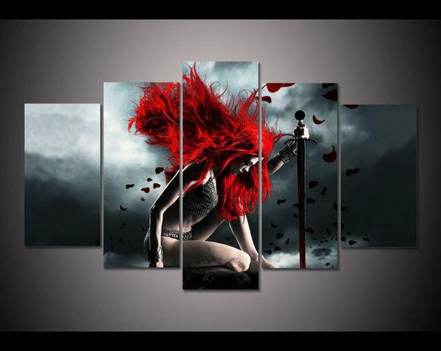 Decoratie Woonkamer Rood : Abstract rood haar gril schilderijen vijf panelen mooie vrouwen
