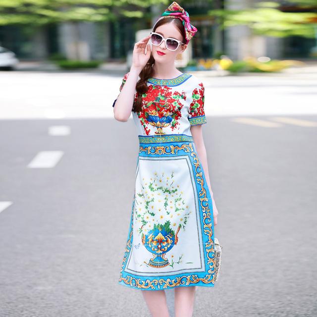 Elegant Short Sleeve Floral Print Dresses