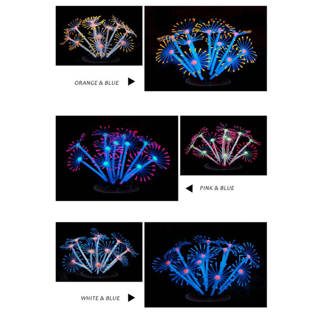 Aquarium décoratif artificiel scintillant en Silicone, Aquarium, plantes d'eau de corail, Mini effet lumineux sous-marin, ornements vivants, 1 pièce