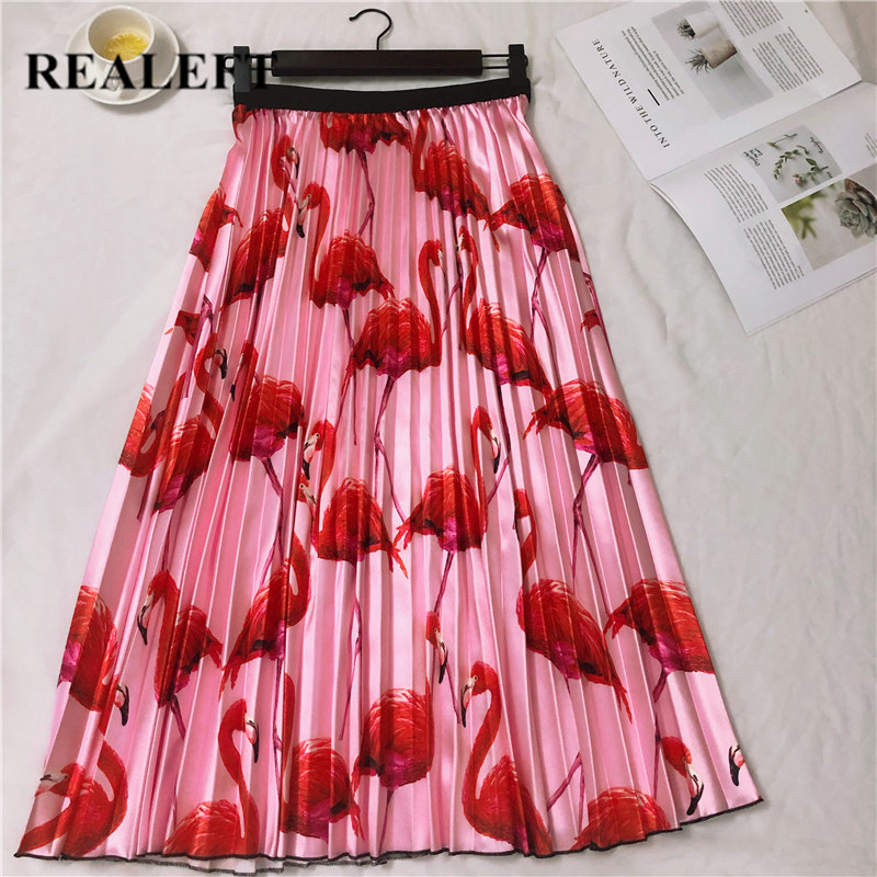 REALEFT New Arrival Summer Women Flamingo Printed Elegant Pleated Long Skirts High Waist Harajuku Tulle A-Line Mid-Calf Skirts