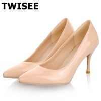 Women Nude Color Patent Leather Pumps 2016 Spring Fashion Pointed Toe High Thin Heels Stilettos Slip