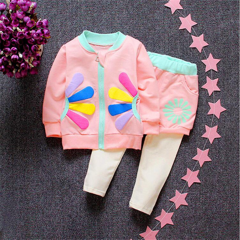 Retail Children Clothing Sets New 2016 Spring Autumn Tracksuit Girls Sports Suits Kids Clothes Zipper Sweatshirt sport suit