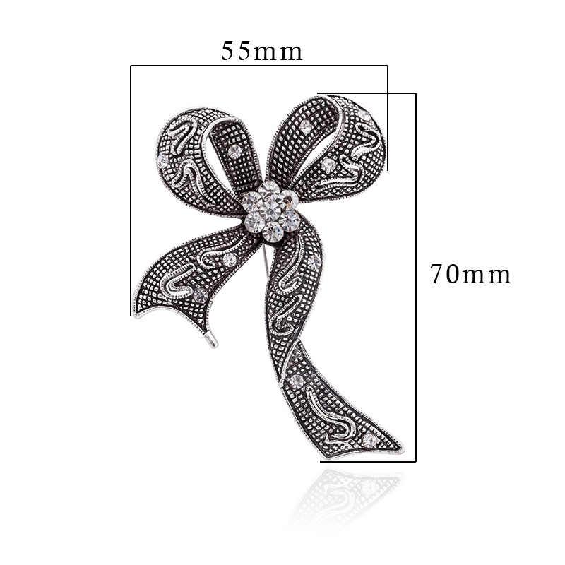 TDQUEEN שחור קריסטל Bowknot סיכות לנשים גדול ריינסטון Bow סיכת פין Vintage תכשיטים חורף מעיל אבזרים