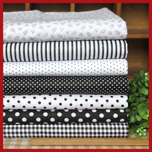 Schwarz 7 Assorted Pre-cut Twill Baumwolle Qualität Quilt Fabric Fat Quarter Tissue Bundle Charm Sewing Handmade Textiltuch 45×45 cm