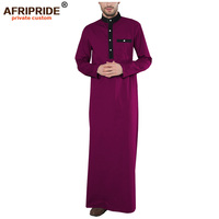 2019 spring new men's Jubba Thobe AFRIPRIDE tailor made full sleeves single breasted 100% cotton Jubba Thobe for men A1914001