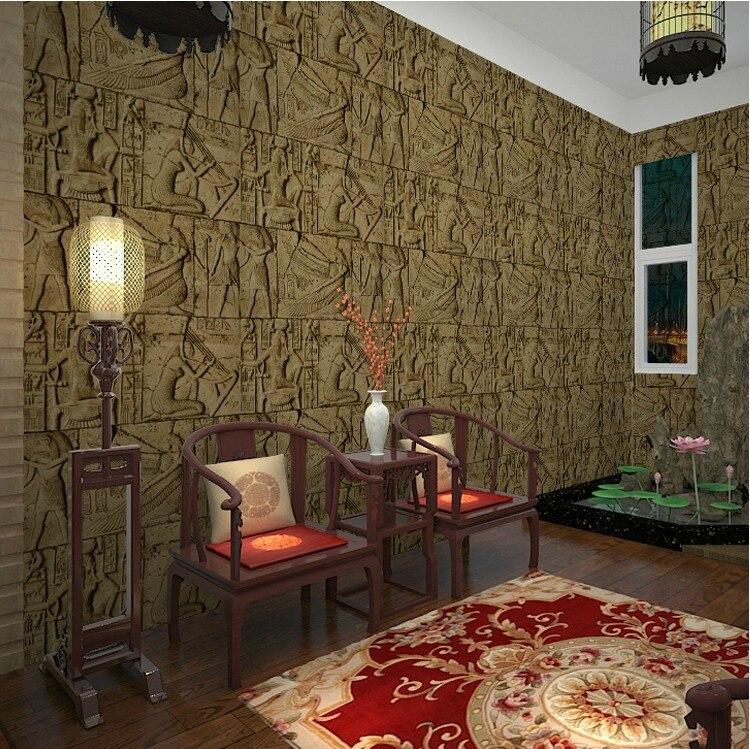 3D PVC Imitation d'egypte papier peint stéréoscopique exfoliant gaufré lavable papier peint pour murs salon toile de fond 10 M X 53 cm