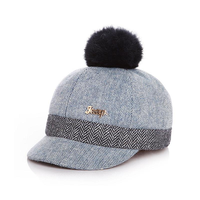 Kid's Fur-top Tweed Baseball Cap - Blue