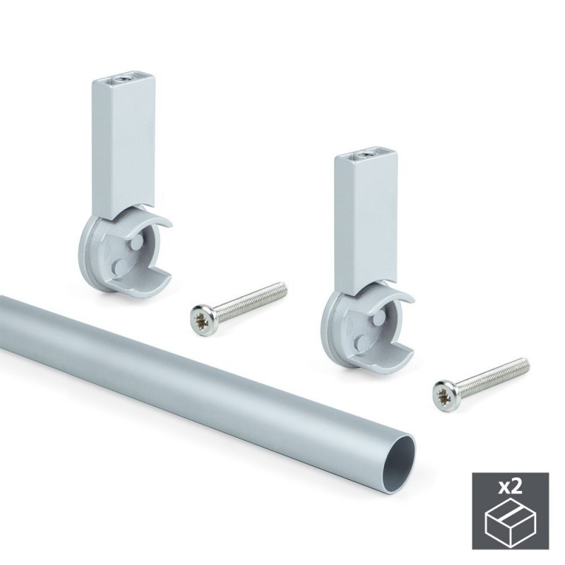 EMUCA 7062162-2 Aluminum Tubing Kit D. 28x950mm And Supports Keeper For Wardrobe In Finishing Gray Color