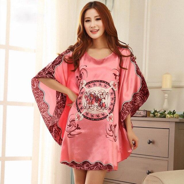 Women Nightgowns Sleepshirts Silk Lady Sleepwear Dressing Gown Plus