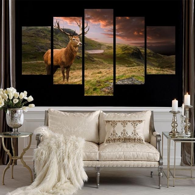 Modulaire Foto Muur Poster Frame Home Decor Woonkamer 5 Stuks Herten ...