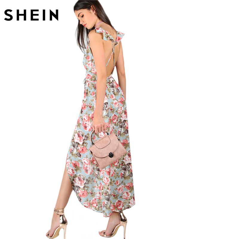 SHEIN Womens Summer Dresses A-Line Dress Ladies Sleeveless Plunge Rose Print Asymmetric Crisscross Back Long Dress