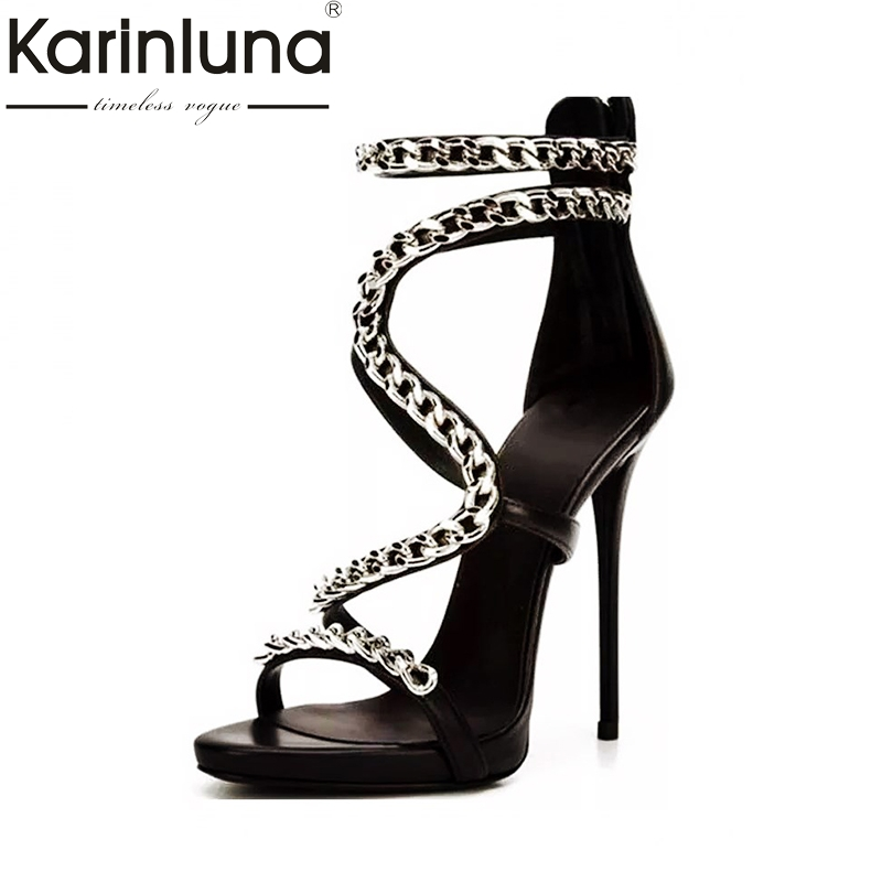 Karinluna 2018 Top Quality Metal Chains Large Size 33-43 Summer Shoes Sandals Sexy High Heels Party Banquet Women Shoes Woman karinluna 2018 large size 31 43 fashion ruffles women shoes sandals fashion wedges high heels party summer shoes woman