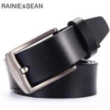 RAINIE SEAN Man Belt Leather Genuine Square Buckle Real Black Belts For Men Business Casual Waist  High Quality 125