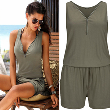 Women Summer Rompers Womens Jumpsuit Beach Casual Playsuits Plus Size Jumpsuit Sleeveless Zipper V neck Short