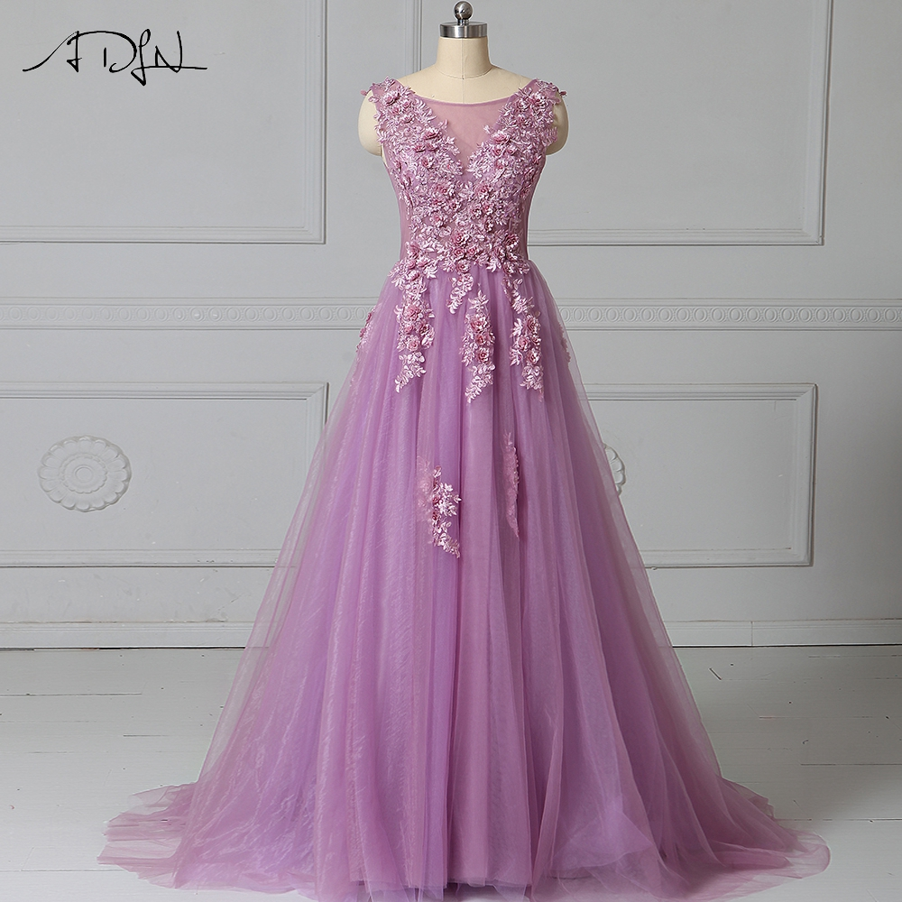 ADLN Hot Sale Cheap Evening Dresses Long Scoop Sleeveless Floral Candy Color Prom Gown Robe de
