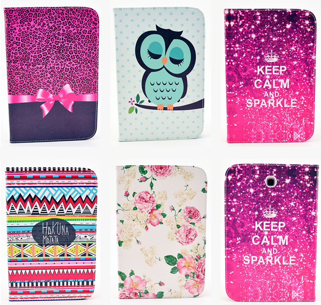 Fashion Bowtie Rose Owl  Wallet Flip PU Leather Tablet Back Cover For Samsung Galaxy Note 8.0 N5100 N5110 GT-N5100 Case B33
