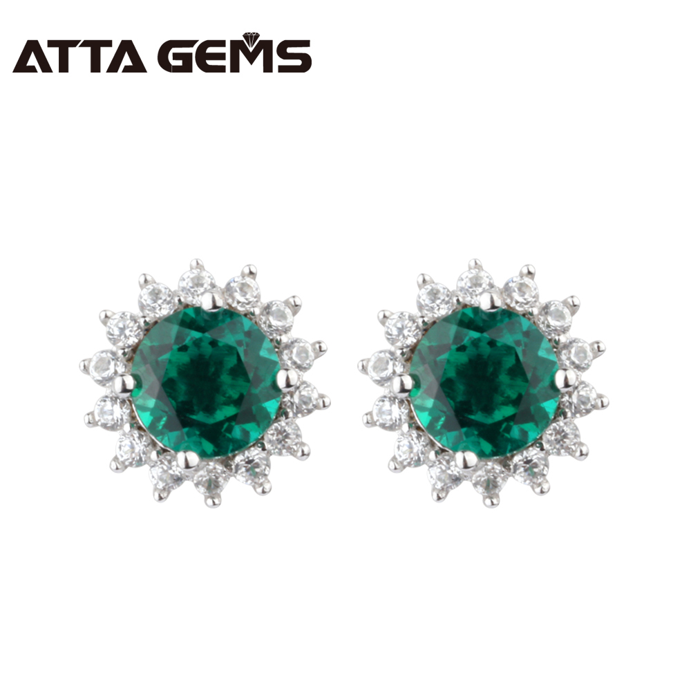 Green Emerald Beryl Silver Stud earring Round 6mm*6mm Deep Green Color With Beautiful Design Fashion And Popular Earring все цены