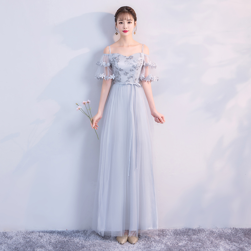 Floor-Length  Embroidery  Women Wedding Party Dress  Grey Colour Bridesmaid Dress  Long Prom Dress