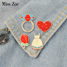 Sweet Wedding Enamel Pins Rose Heart Dress Ringshaped Brooches Custom Badge for Bag Hat Clothes Lapel pin Collar Jewelry Gift(China)