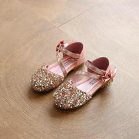 2017 Children Princess Glitter Sandals Kids Girls Soft Shoes Square Low Heeled Dress Party Shoes Pink
