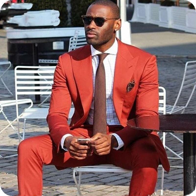 Nouveauté un bouton Orange marié Tuxedos pic revers hommes costumes de mariage Blazers (veste + pantalon + cravate) W: 585