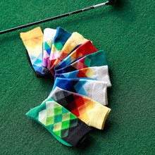 Casual Mens Colorful Happy Socks Harajuku Business Dress Socks Diamond Plaid Long Socks calcetines In Tube Male