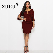 XURU New Products Hot Sale Large Size Womens Sexy Dress Solid Color Strapless Wine Red Green Black Navy Blue
