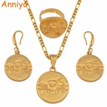 Anniyo PNG Hela Flag Gold Color Pendant Necklaces Earrings Ring Women Papua New Guinea National Jewellery Ethnic Gifts #134606