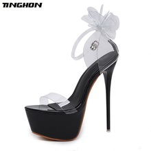 TINGHON Women Flower Transparent High Heel Sandals Super Shallow Mouth Open Toe Waterproof Platform Catwalk Shoes