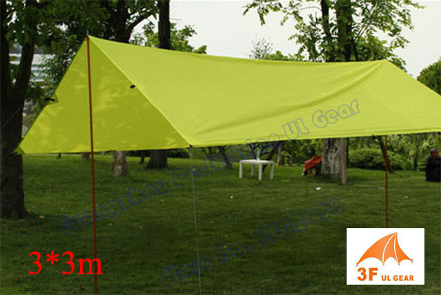 210T PU coating 3F UL Gear 3*3m outdoor tarp shelter high quality beach awning